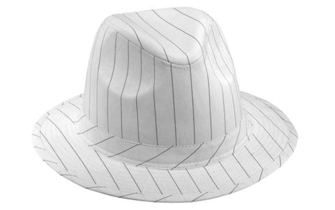 White Fedora Hat with Black Pinstripe