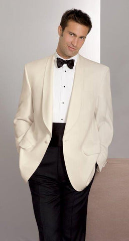Ivory Dinner Jacket - Classic 1 Button Shawl Lapel