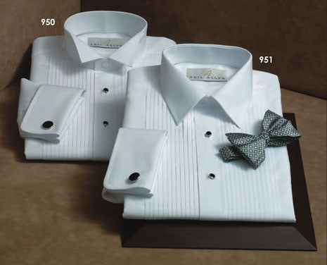 100% Cotton Pleated Laydown Collar Tuxedo Shirt - French Cuffs