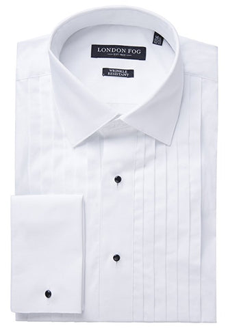Men's Modern Fit Wide-Pleat Laydown Collar French Cuff Tuxedo Shirt
