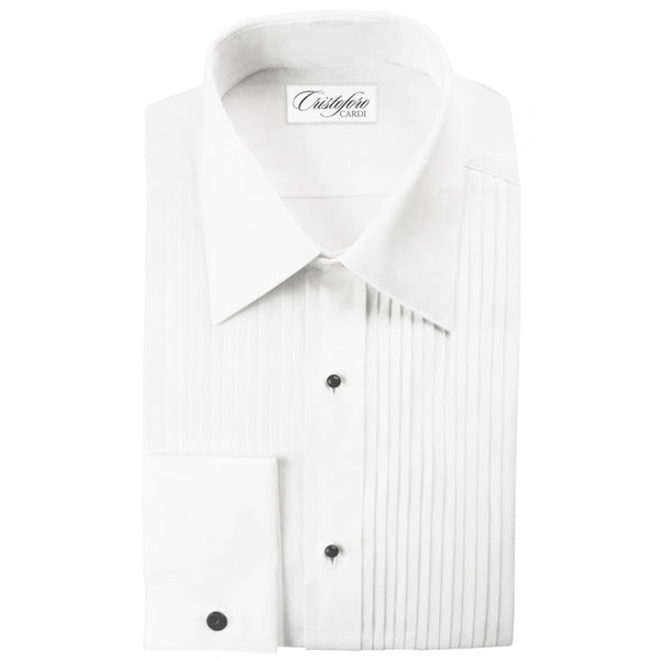 White, Turn Down Collar (Angelo) Tuxedo Shirt by Cristoforo Cardi with Pleated Bib