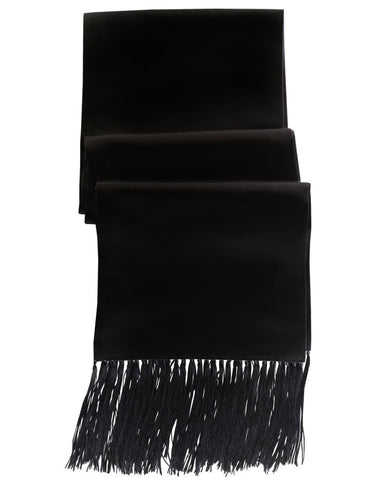 Men's Black Satin Formal Scarf
