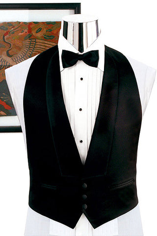 Backless Tuxedo Vest - Available in Black OR White (White  + 3X-Large (54-56) + temp)