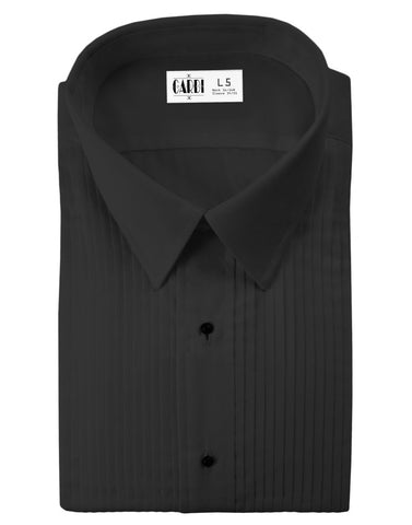 Black Pleated Laydown Collar (Enzo) Tuxedo Shirt by Cardi - Ultra Soft Fabric