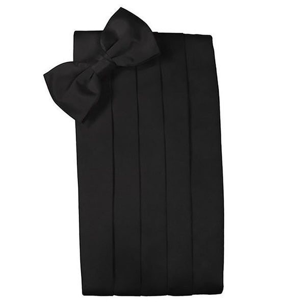 Poly/Satin Cummerbund and Bow Tie Set - Black