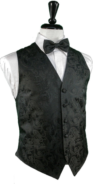 Tapestry Pattern Silk Tuxedo Vest (Black) - 100% Silk and Tie Set