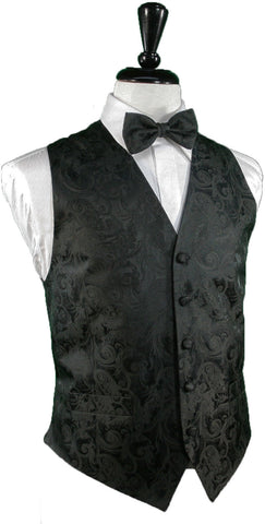 Tapestry Pattern Silk Tuxedo Vest (Black) - 100% Silk (5X-Large (62-64))