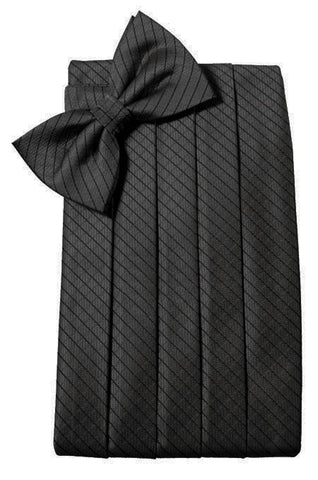 Black Diamond Grid Pattern Cummerbund Set