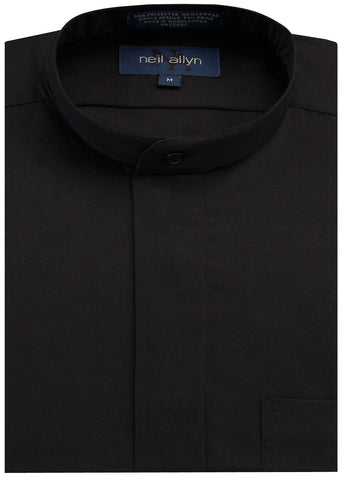 Neil Allyn Black Banded Collar Tuxedo Shirt