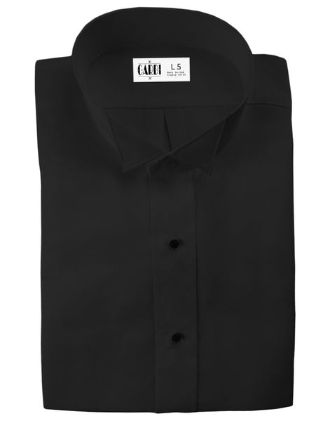 Black Wing Collar Non-Pleated Tuxedo Shirt for Big and Tall Men - Ultra Soft Fabric
