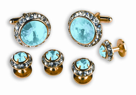 Blue Stone Cufflinks and Studs Set - Style #2218G