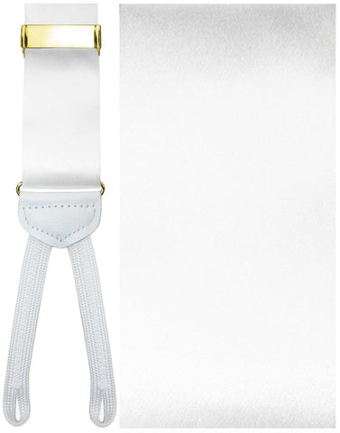 Modena White Silk Formal Braces -Gold Hardware