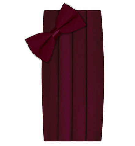 Poly/Satin Cummerbund and Bow Tie Set - Burgundy