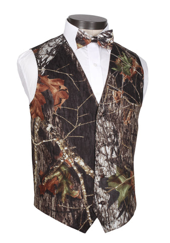 Men's Camouflage Tuxedo Vest with Bow Tie - Mossy Oak Pattern