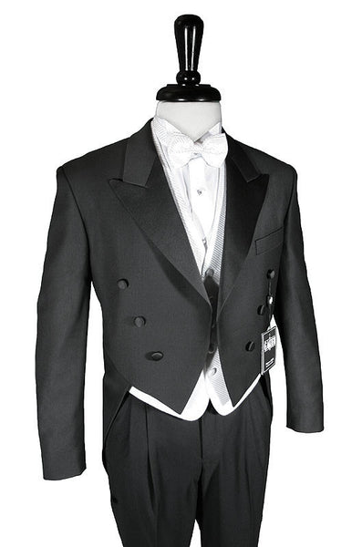 Super 150's Black Peak Tailcoat - Includes Formal Trousers - Big and Tall Sizes Available