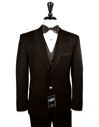 Chocolate Brown Tuxedo with Satin Framed Edge