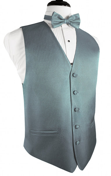 Cloudy Blue Herringbone Tuxedo Vest and Tie Set