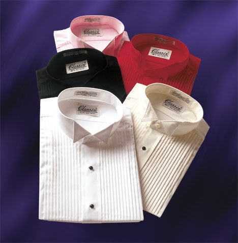 Colored Wing Collar Tuxedo Shirts in Pink, Red, Purple, Fuchsia, Teal, Ivory & Black