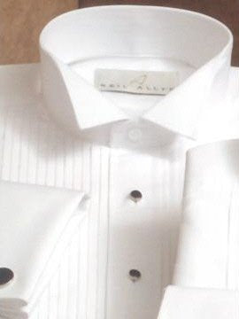 Neil Allyn 100% Cotton White Wing Collar Tuxedo Shirt with Pleated Front