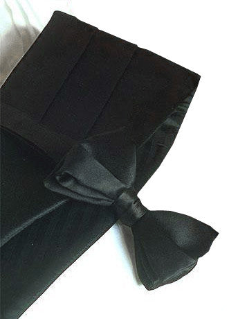 100% Silk Cummerbund & Bow Tie Set - Black