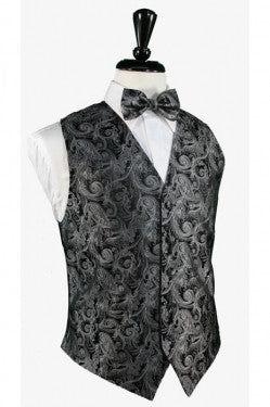 Tapestry Silk Tuxedo Vest  in (Silver) and Tie Set by Cardi