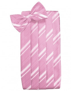 Rose Petal Striped Satin Cummerbund Set