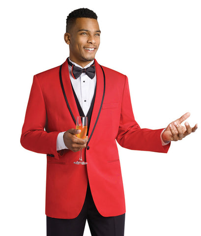 Red Tuxedo Jacket with Black Trousers - Contemporary Styling