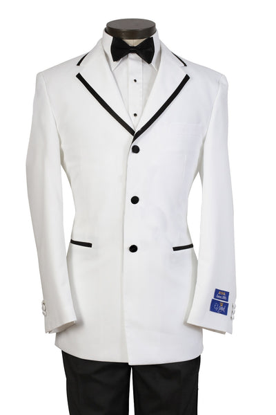 Mens White Tuxedo with Black Frame Lapel - Includes Pants! - SUPER SALE PRICE - Limited Sizes