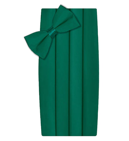 Poly/Satin Cummerbund and Bow Tie Set - Emerald Green