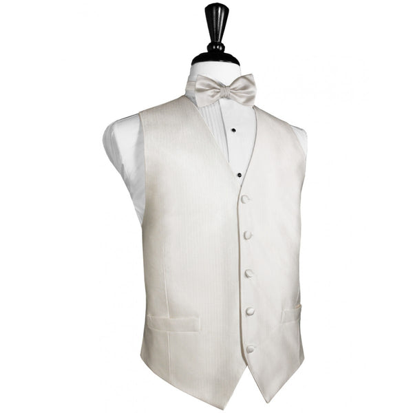 Ivory Faille Silk Full Back Tuxedo Vest and Tie Set by Cardi