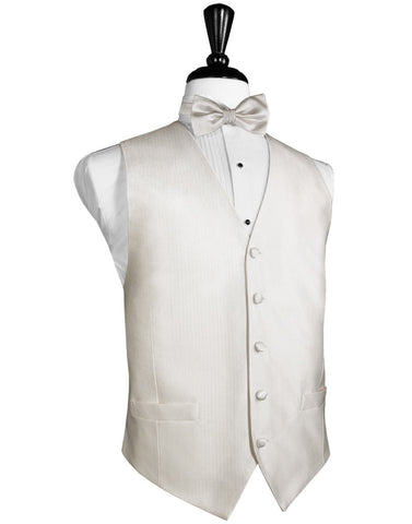 Ivory Faille Silk Full Back Tuxedo Vest by Cristoforo Cardi