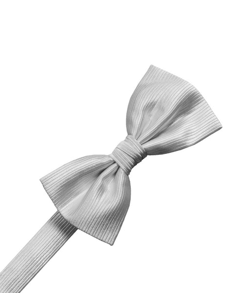 Silver Faille Silk Formal Bow Tie