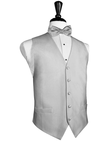 Silver Faille Silk Full Back Tuxedo Vest and Tie Set by Cardi