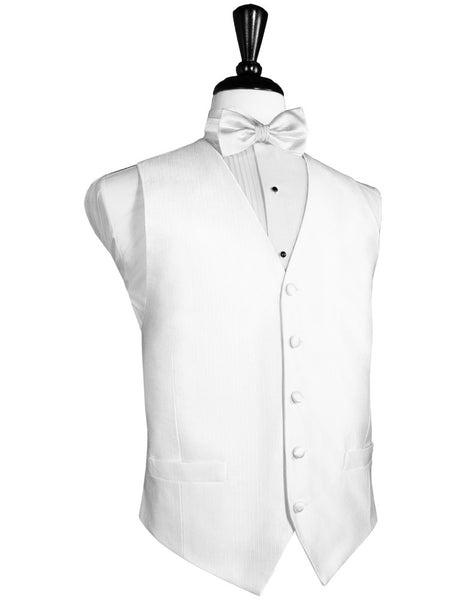 White Faille Silk Full Back Tuxedo Vest and Tie Set by Cardi