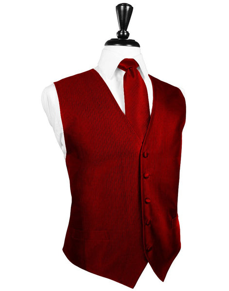 Red Faille Silk Full Back Tuxedo Vest and Tie Set by Cardi