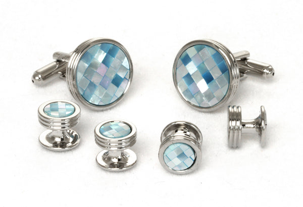Unique Blue Tinted Mother of Pearl Cufflinks & Studs Set Style#FS5675