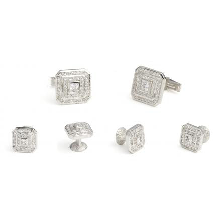 Pave Cubic Zirconia Cufflinks and Studs - Style# FS831CZ