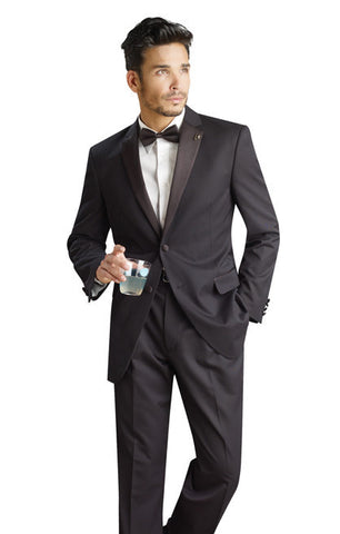Black Slim Fit Tuxedo - 2 Button Jacket with Notch Lapel