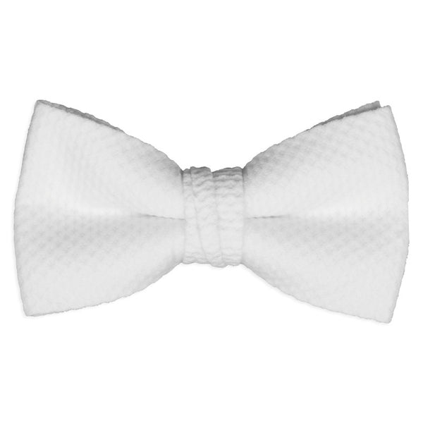 Men's White Pique Pre-Tied Formal Bow Tie