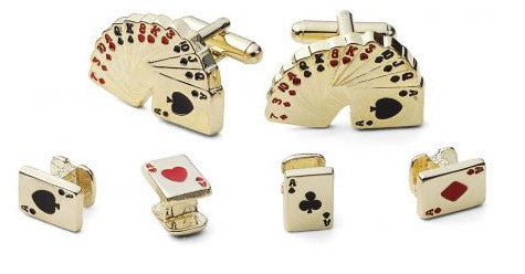 Gold Poker Cufflinks and Studs Set - Style # FS2132