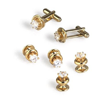Gold Knot with Raised Cubic Zirconia Center Cufflinks and Studs - Style #FS5539