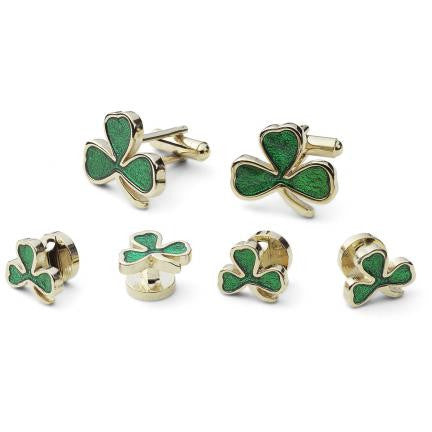 Three Leaf Clover Studs and Cufflink Set - Green Shamrock Cufflinks and Studs