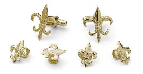 Gold Fleur De Lis Cufflinks and Studs Set - Style # FS7020