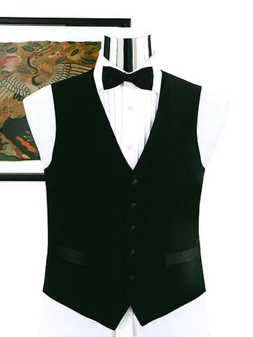 100% Wool Full Back Tuxedo Vest - Black Wool Formal Vest