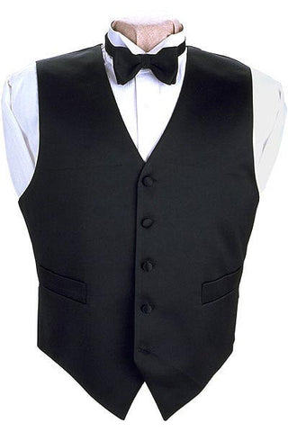 Solid Black Full Back 100% Silk Tuxedo Vest