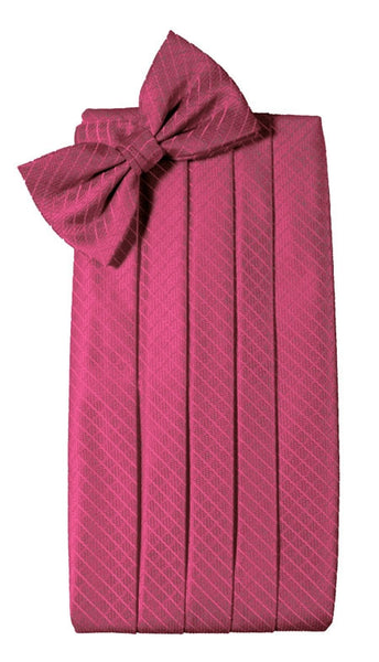 Fuchsia (Magenta) Diamond Grid Pattern Cummerbund Set