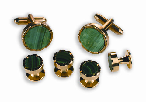 Malachate Green Stone Cufflinks and Studs Set - Style #1803G