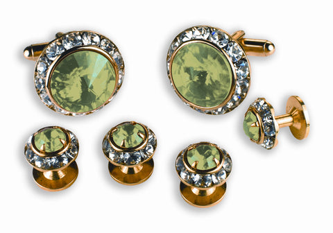 Light Green Stone Cufflinks and Studs Set - Style #2220G