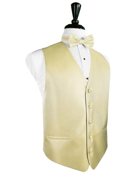 Banana Herringbone Tuxedo Vest and Tie Set