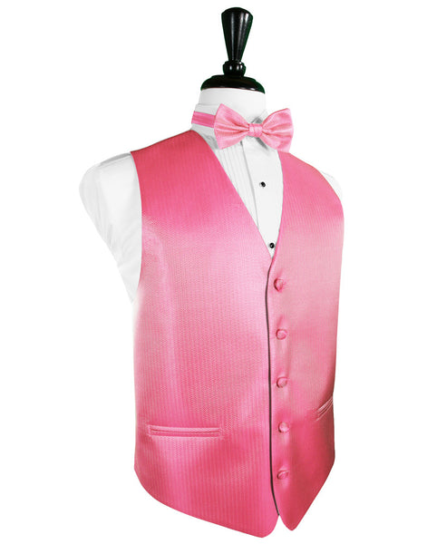 BubbleGum Herringbone Tuxedo Vest and Tie Set